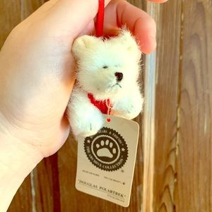 Adorable stuffed polar bear ornament